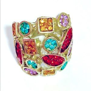 Colorful Bohemian Ring with Glass Stones